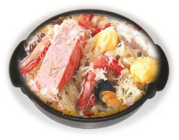 Choucroute de la mer ou alsacienne servie en poêlon électrique prête à servir !