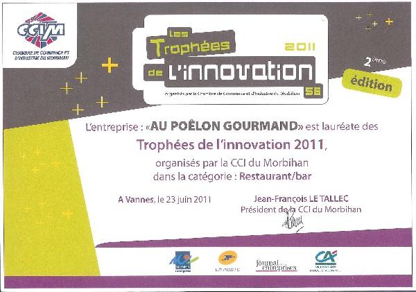 """Au Poêlon Gourmand, lauréat des Trophées de l'innovation 2011 dans la catégorie """"Restauration"""" (Chambre de Commerce & de l'Industrie du Morbihan)"""