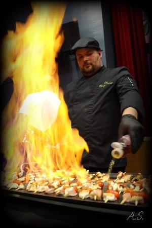 Brochettes flambées